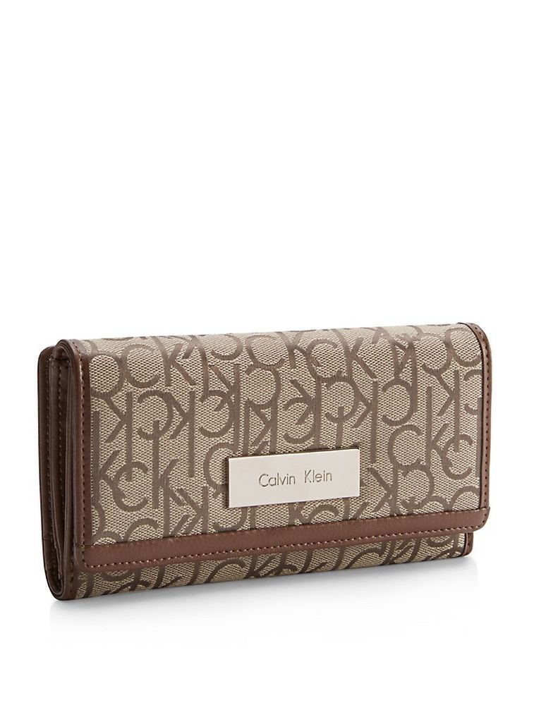 8756d659f8 calvin klein womens logo jacquard mega flap wallet #CalvinKlein ...