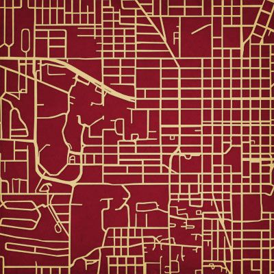 Florida State University Map.Very Cool Florida State University City Prints Map Art Garnet
