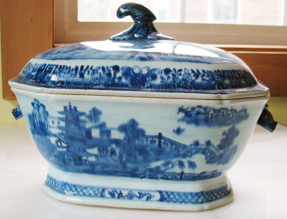 Antique Chinese Qianlong Porcelain Bowl Tureen Lid Blue Glazed Asian Rabbit Side #unk
