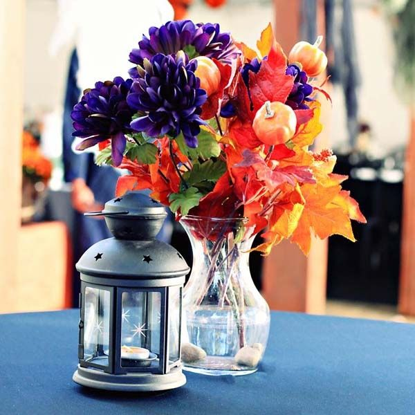 Autumn colorful bouquet wedding light decor flowers autumn style bouquet lantern design decorations #bouquet #fleurs #flowers #vase #pot #rose #multicolor