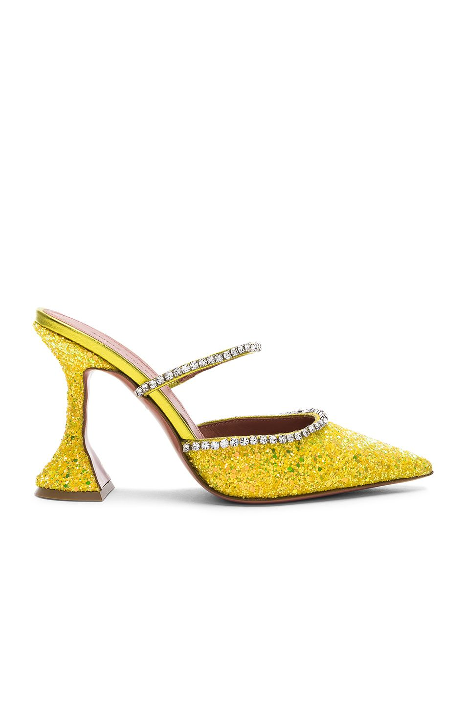6567981195 Image 1 of AMINA MUADDI Glitter Gilda Mules in Yellow & Crystals | F ...