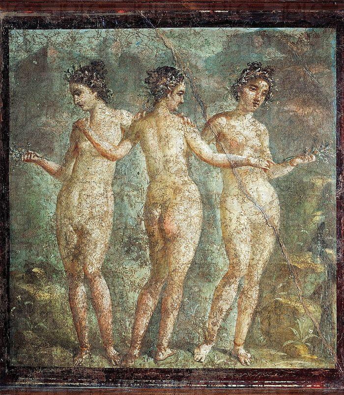 Le tre Grazie - affresco pompeiano - Museo Arch. Naz. Napoli