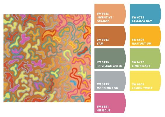 Paint colors from Chip It! based on Kaffe Fassett fabric