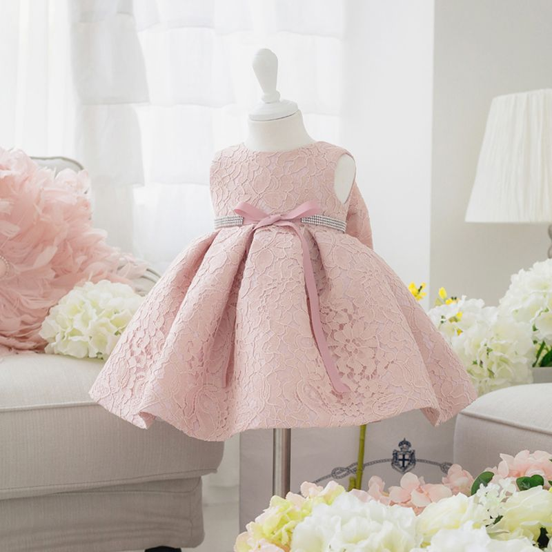 b5bc33122b2c Newborn Baby Girl Dresses with Cap Super Back Bow Diamand Belt Baby ...