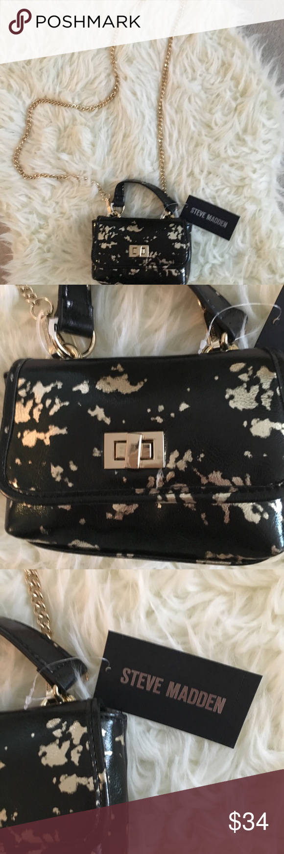 """e237182ea Steve Madden crossbody bag✨✨✨ Steve Madden Colton bag. Cross body bag with top  handle and convertible chain strap✨✨ Chain strap 48"""" Purse length ⚡️6"""" ..."""