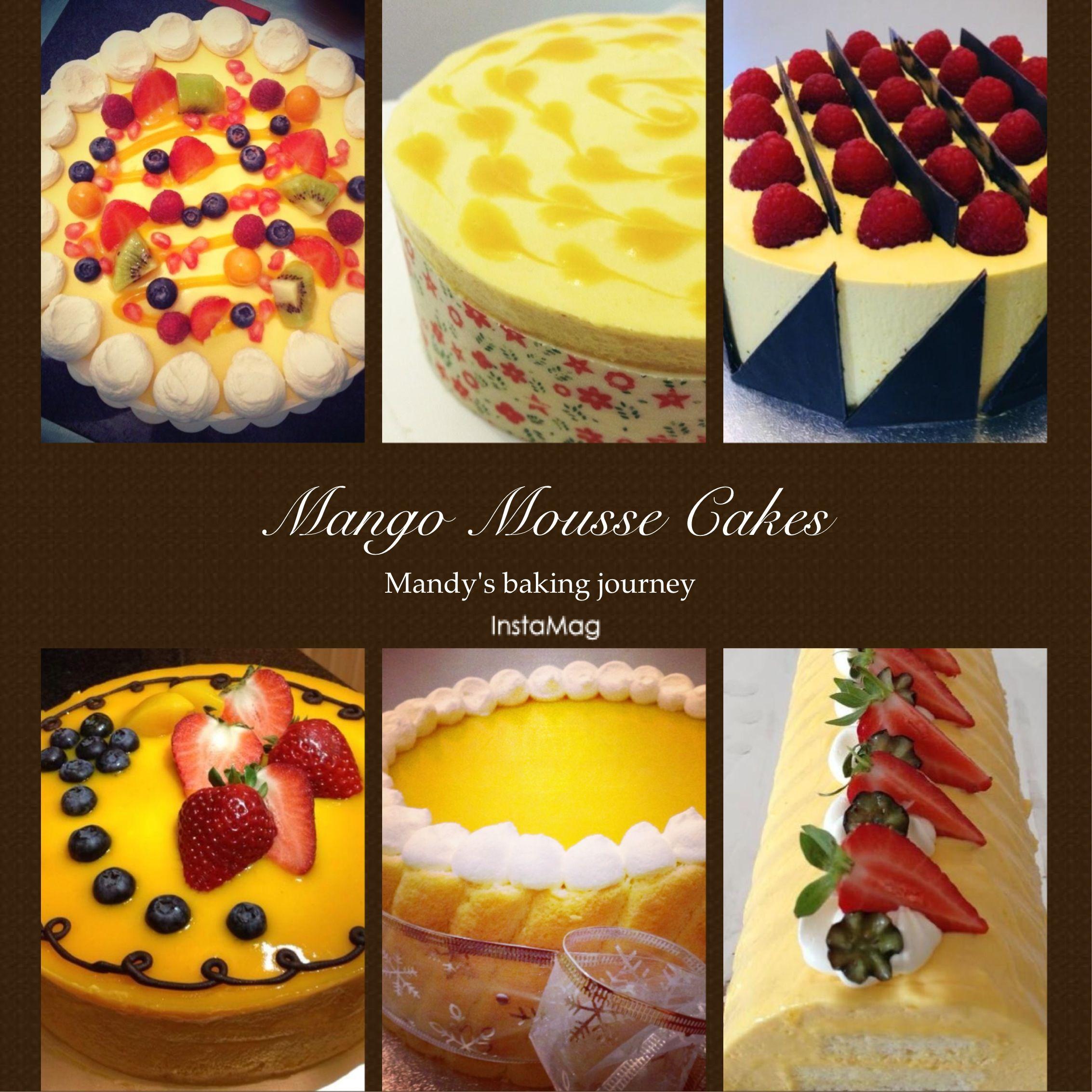 Mango mousse cakes made by me. Recipes are here http://mandysbakingjourney.blogspot.co.uk/2014/01/mango-mousse-cake.html