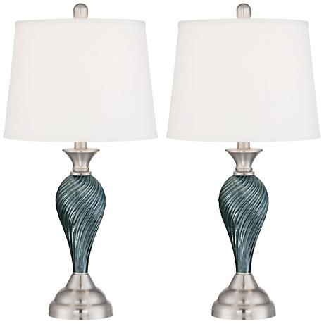 Arden Green Blue Glass Twist Column Table Lamp Set Of 2 8m664 Lamps Plus In 2020 Table Lamp Sets Table Lamp Metal Table Lamps