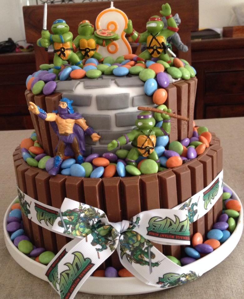 Turtle Ninja Cake With Kitkat And Smarties Ninja Cake Turtle Cake Tmnt Cake