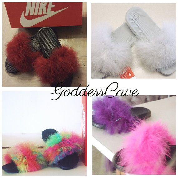 Check out this item in my Etsy shop https://www.etsy.com/listing/278203272/fuzzy-nike-slides-fuzzy-flip-flops