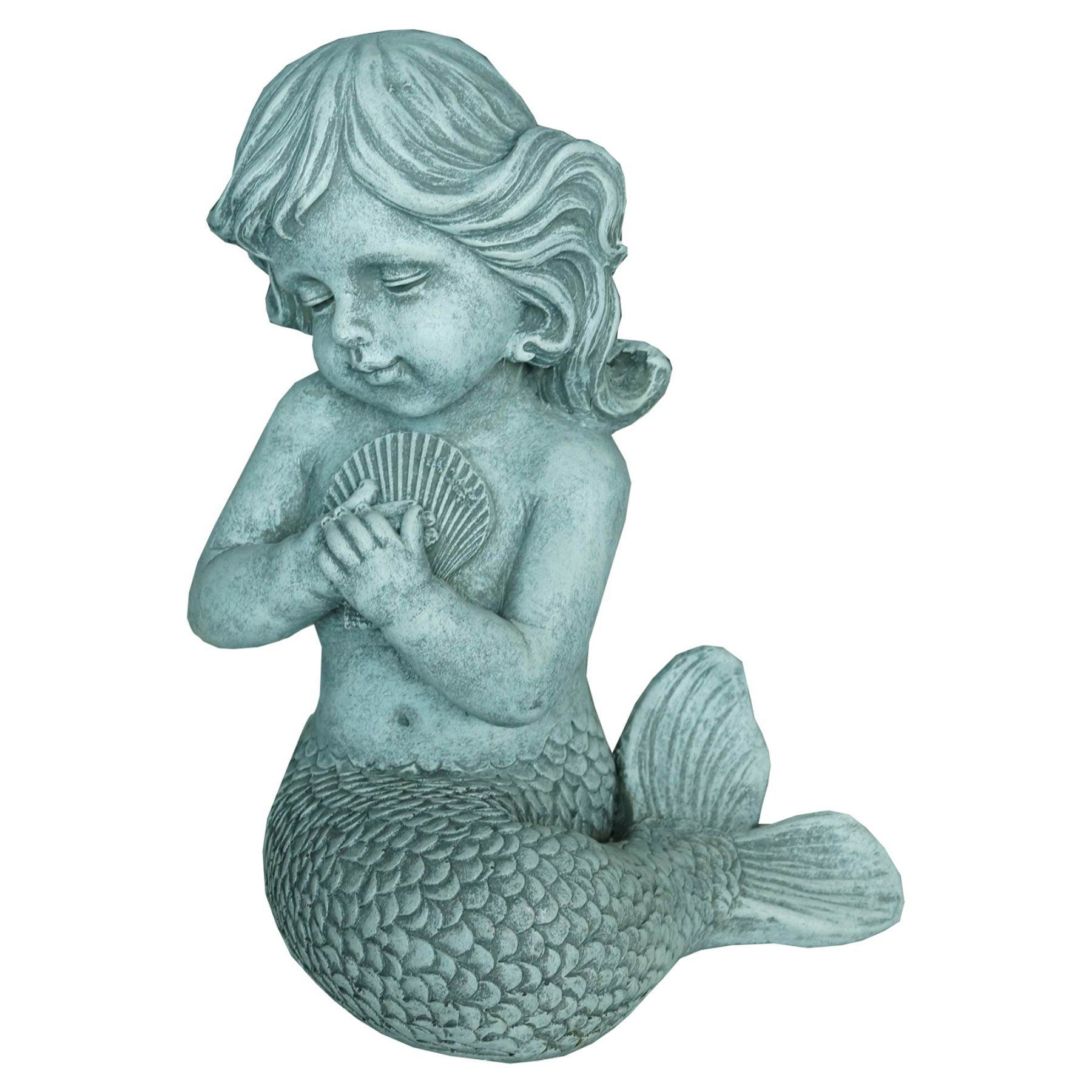 Hi Line Mermaid Kneeling And Holding Shell Statue 75598 Garden Statues Statue Outdoor Statues