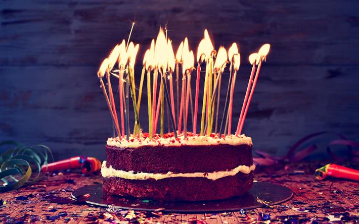 Happy Birthday Feliz Cumpleaños Bon Anniversaire ~ Télécharger fonds d'écran joyeux anniversaire 4k bougies gâteau d