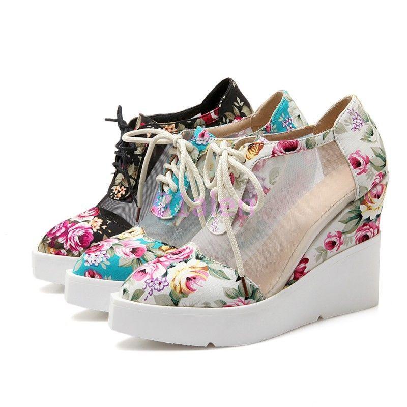 49c448c87ab Womens Floral Mesh Platform Wedge Heel Lace Up Autumn Punk Goth Shoes Plus  Size
