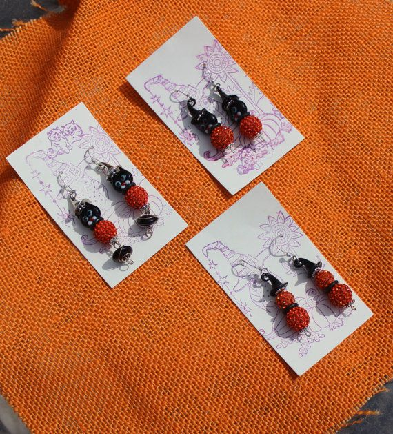 Halloween Black Cat with Witch Hat Orange by Exquisitely4You
