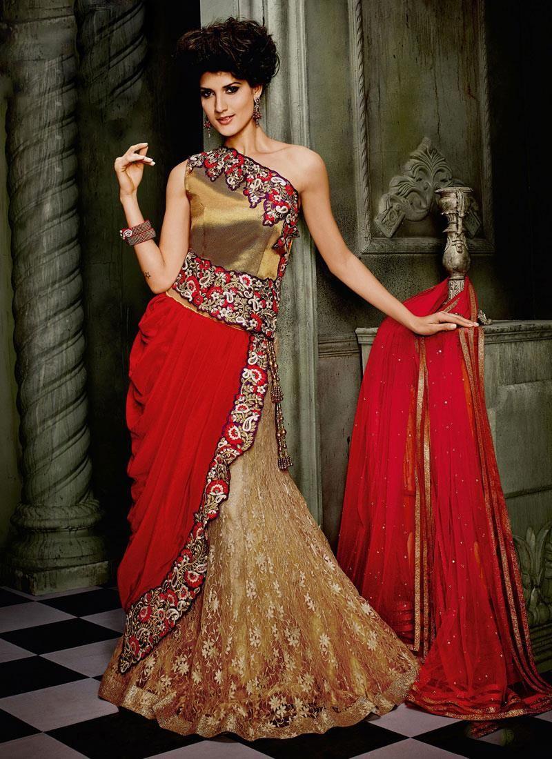 South asian wedding dresses  Celestial Georgette Resham Work A Line Lehenga Choli  Beige