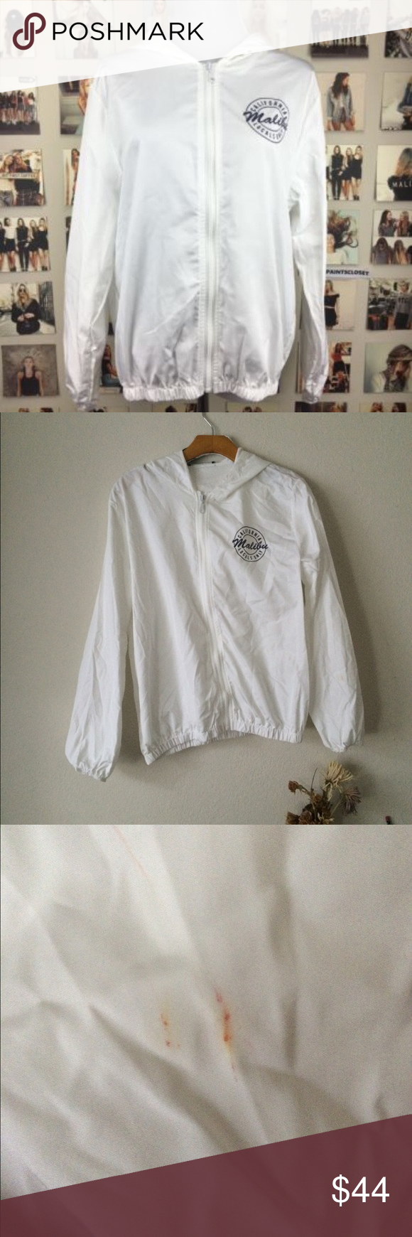 Brandy Melville Malibu windbreaker Has a small red stain can be taken out with bleach. Price is firm no trades cheaper on Ⓜ️ and ️️ Brandy Melville Jackets & Coats
