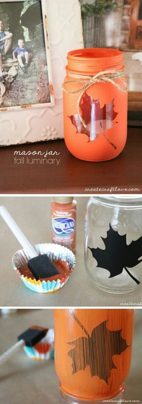 Easy Mason Jar Fall Decorations, DIY Fall Decorating Ideas, Upcycled Jars Crafts…