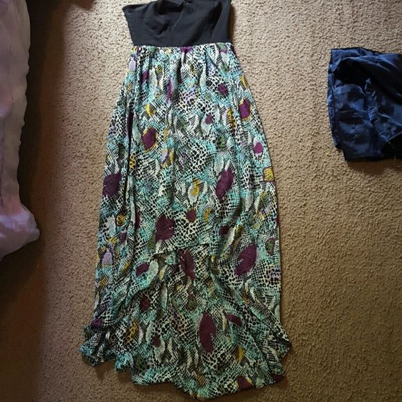 Dress Maxi dress, short in the front long in the back with black top No Boundaries Dresses Maxi