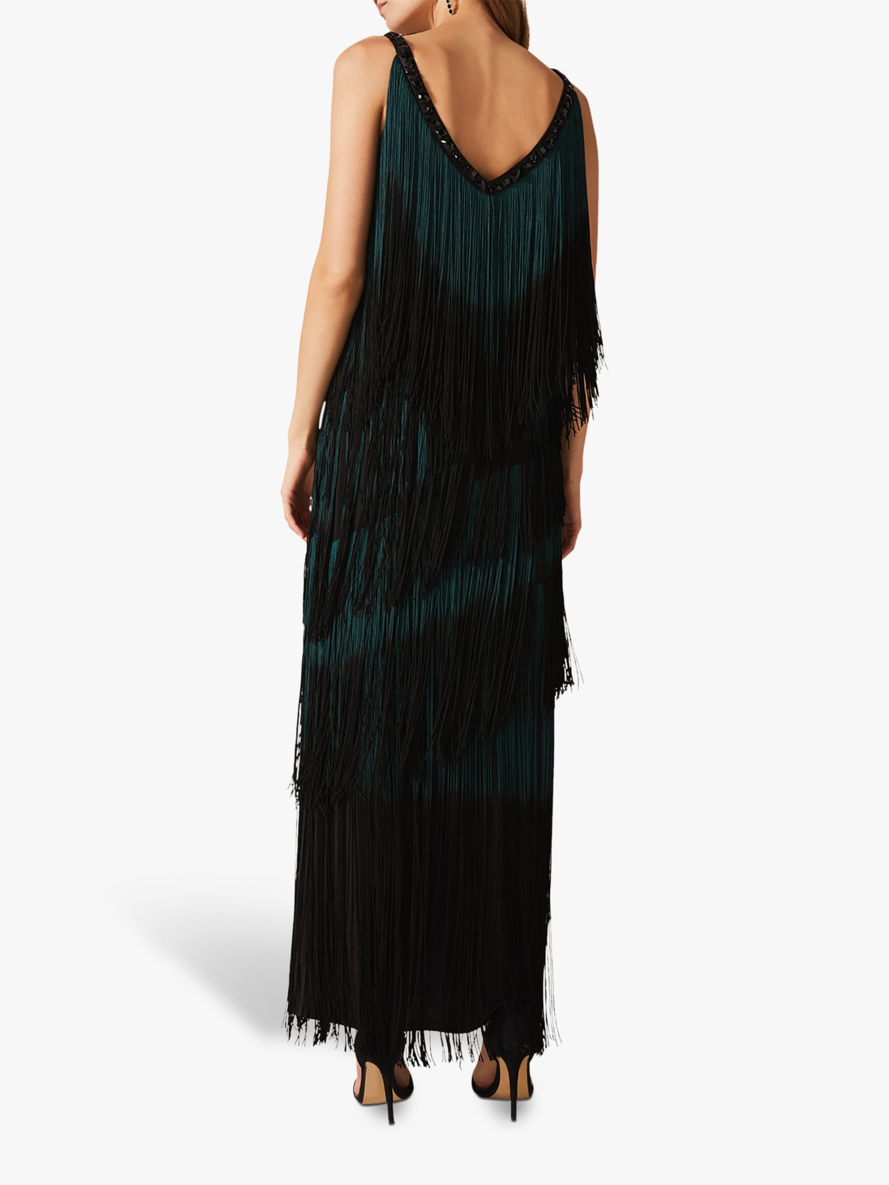 Phase Eight Tina Tassel Maxi Dress, Black/Forest #blackmaxidress