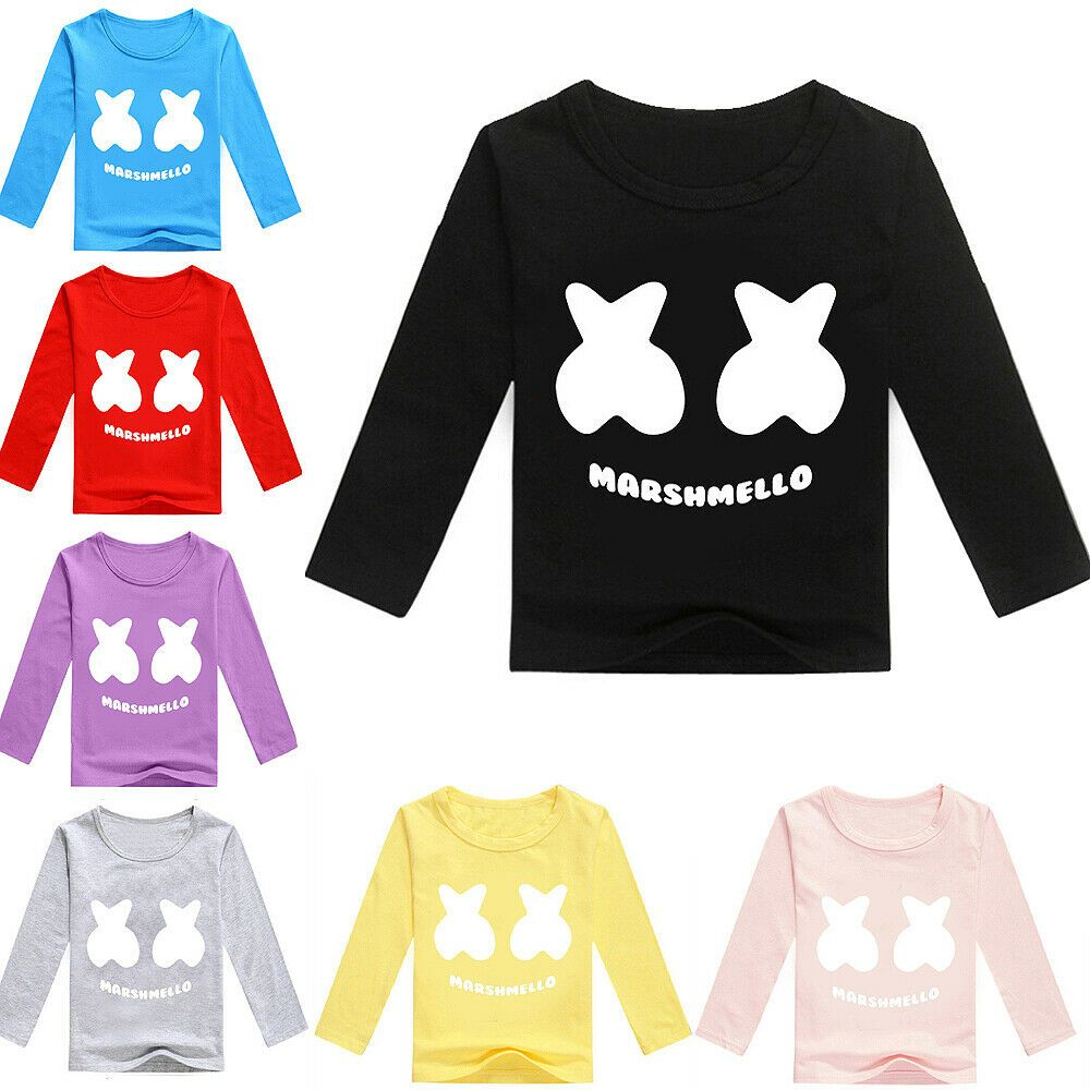 Boys Girls Marshmello Kids Spring Fall Long Sleeve T Shirt Party