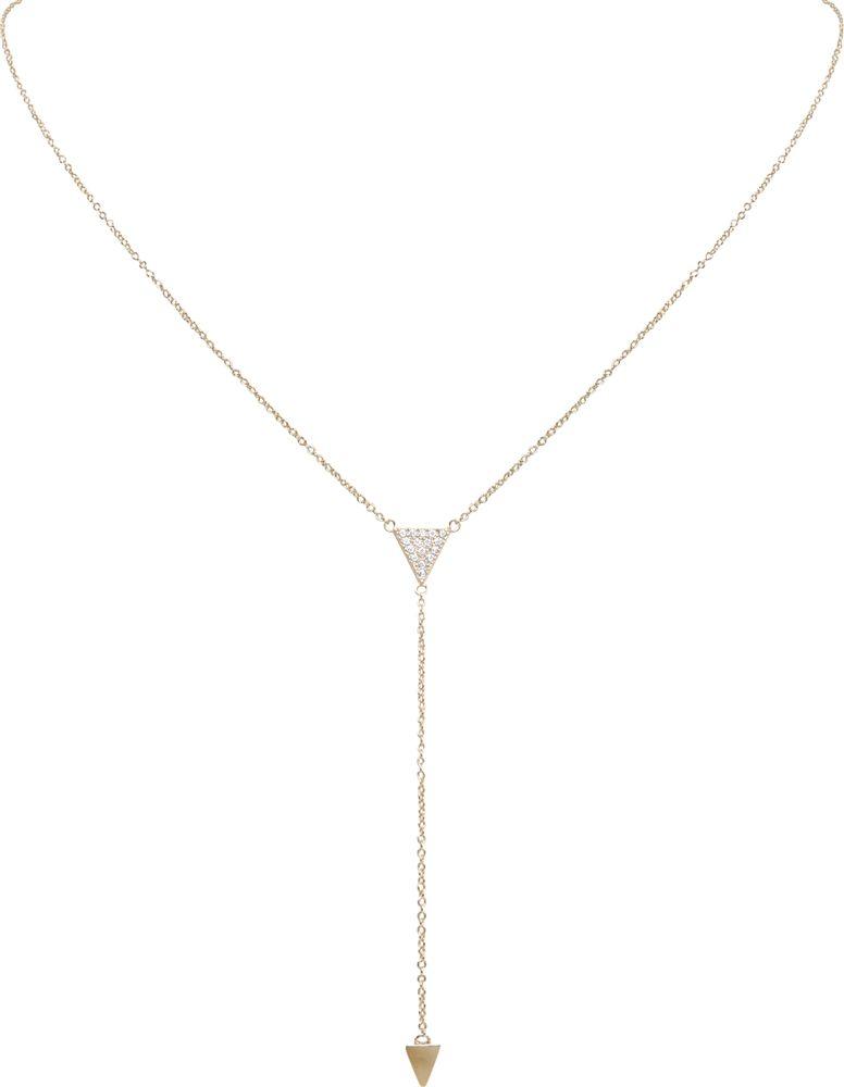 17e5cf91fa Pave Lariat Necklace - 925 Sterling Silver CZ Diamond Triangle Chain ...