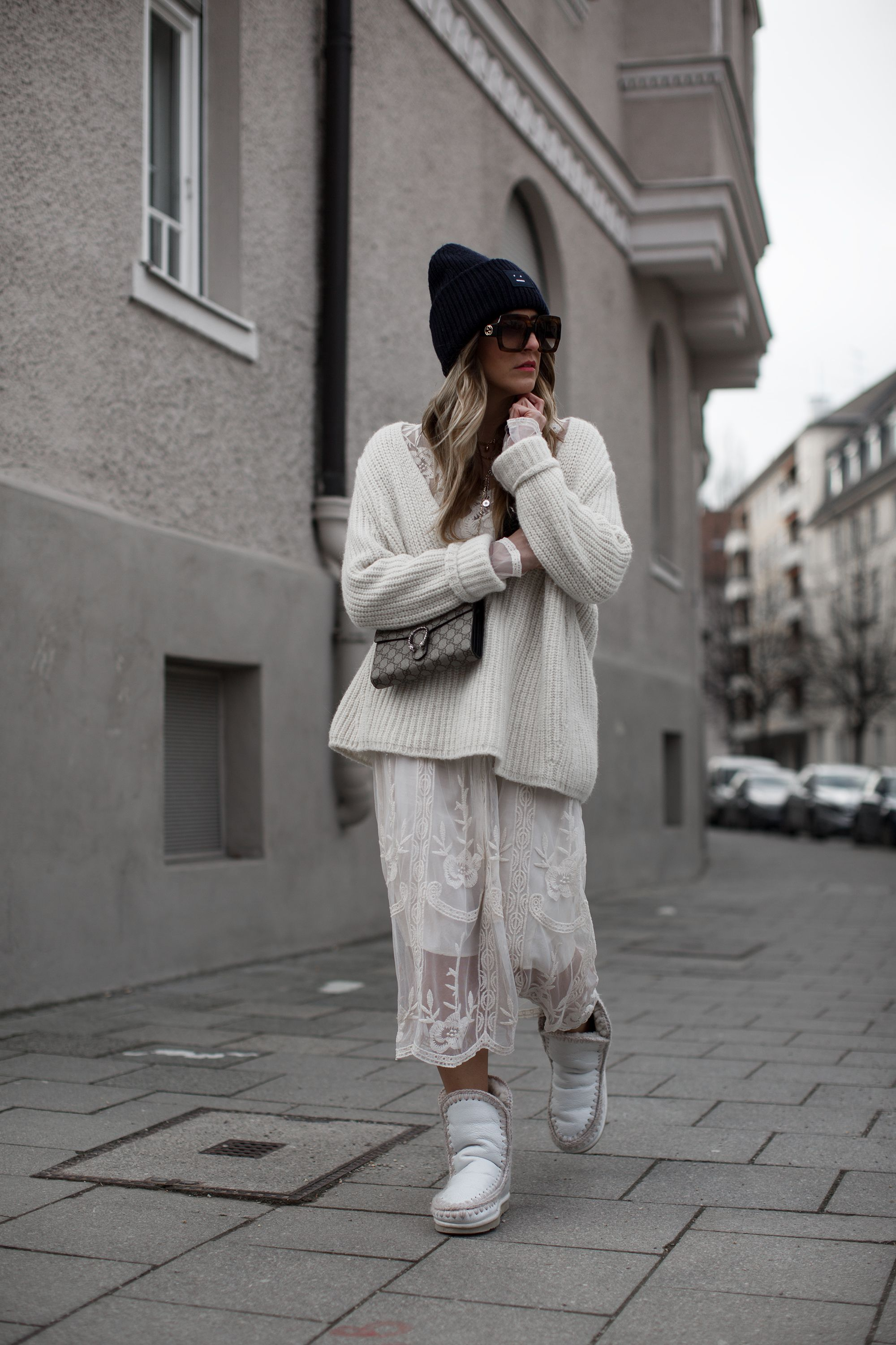 black palms lace dress mou boots white winter outfit
