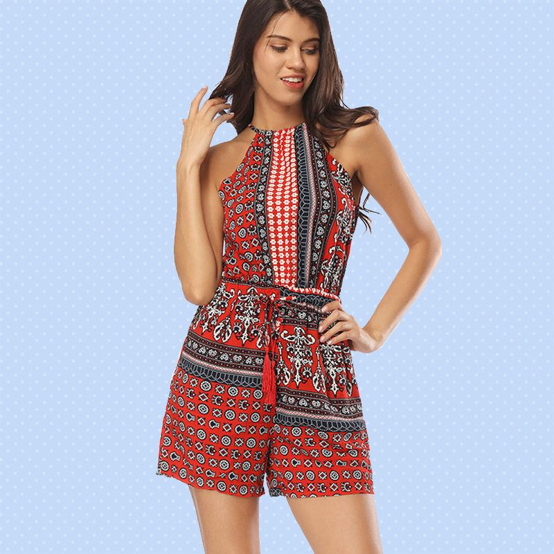 01396c50994e Keyhole Back Tassels Tie Halter Playsuits with Tribal Print ...