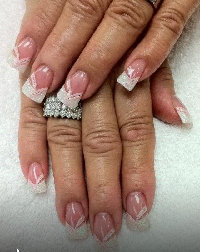 French pink & white | Nail Art | Pinterest | Pink white, Flare nails ...