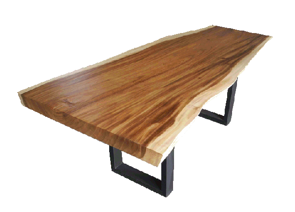 Free Edge Or Live Edge Acacia Dining Table With Metal Legs Office