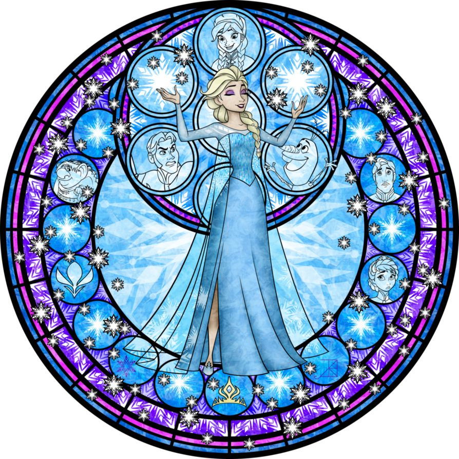 Walt Disney movie Frozen. Elsa stained glass style