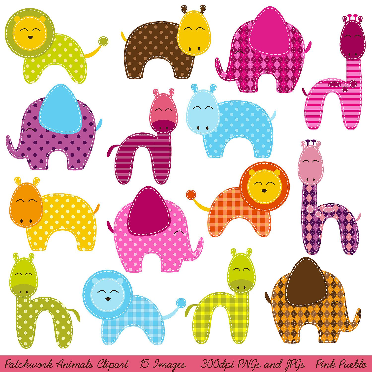 Zoo animal scrapbook ideas - Patchwork Animals Clipart Clip Art Zoo Animals Jungle Animals Clipart Clip Art Commercial And Personal Use