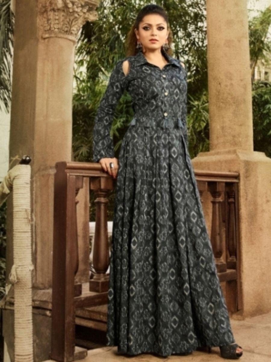 Arsenic gray cotton printed casual long kurti in salwar