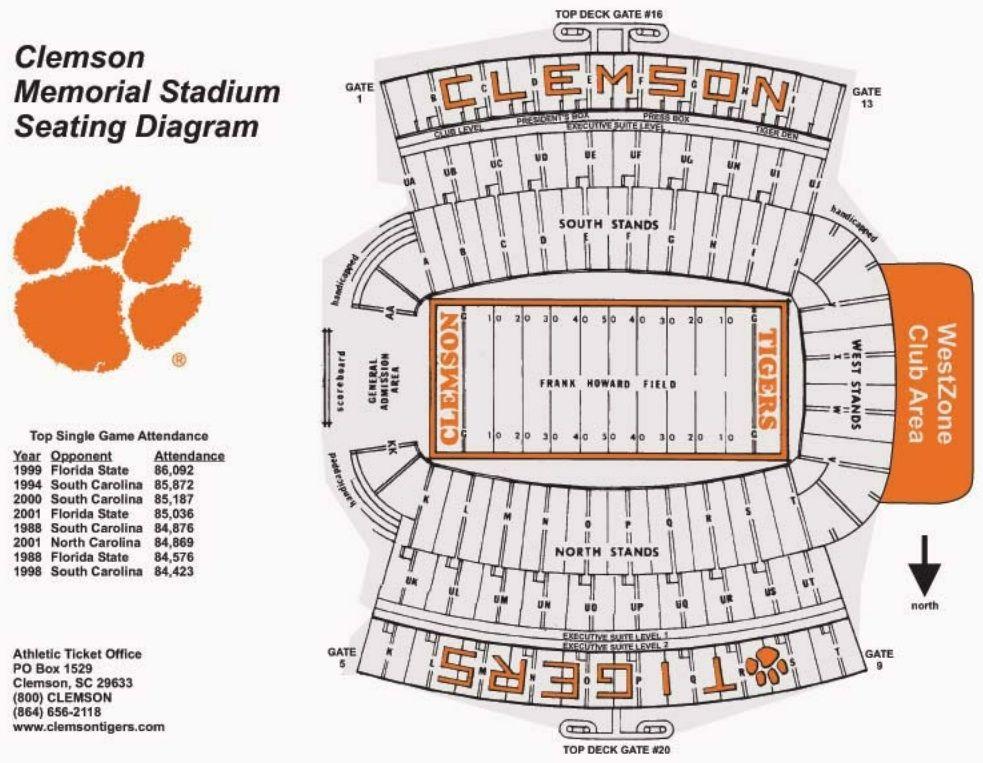clemson seating chart: Clemson football stadium google search clemson pinterest