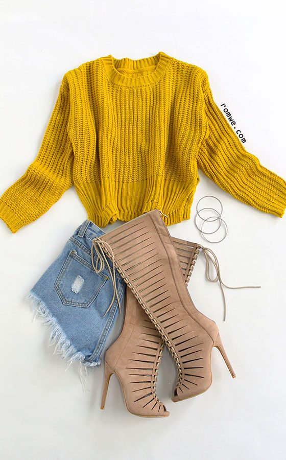 4dabfad23d4 Yellow Drop Shoulder Slit Side Wave Hem Sweater with denim shorts and lace  up heels from romwe.com