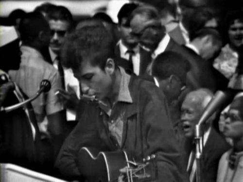 Bob Dylan at The March On Washington, August 28, 1963. Immediately preceding King's
