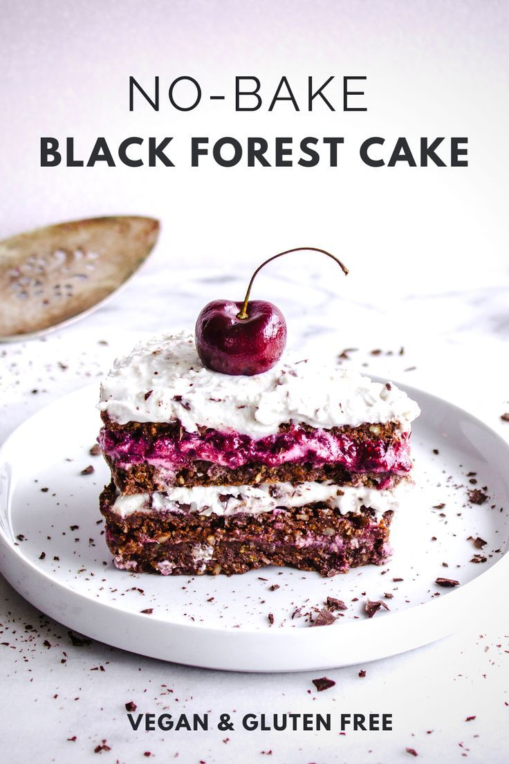 This No-Bake Black Forest Cake recipe is made from scratch with my raw chocolate cake, cherry jam filling and coconut whipped cream! If you're looking for a healthy vegan cake recipe that's also gluten-free, this is for you! #blackforest #vegan #cake #raw