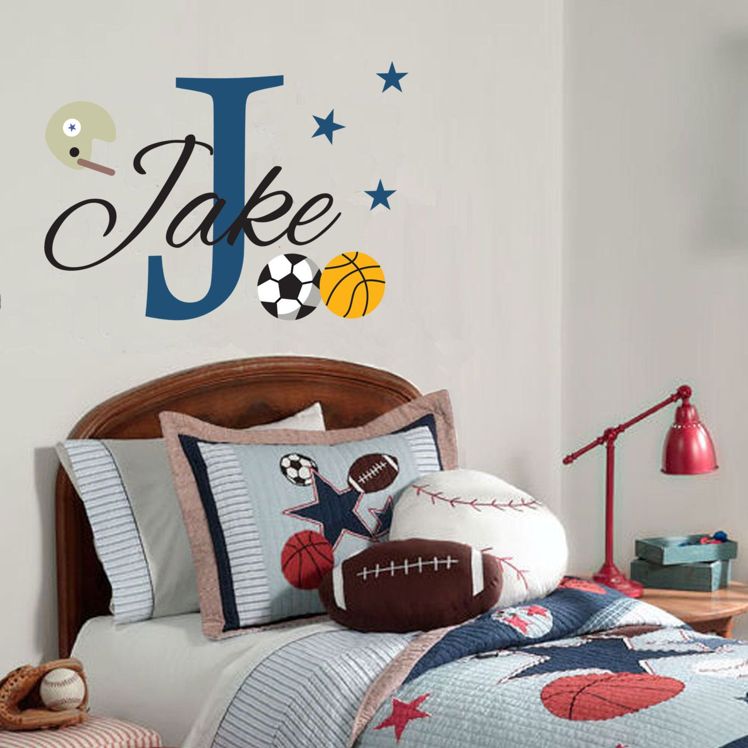 sport decal for boys personalized children monogram on wall stickers for kids id=75825