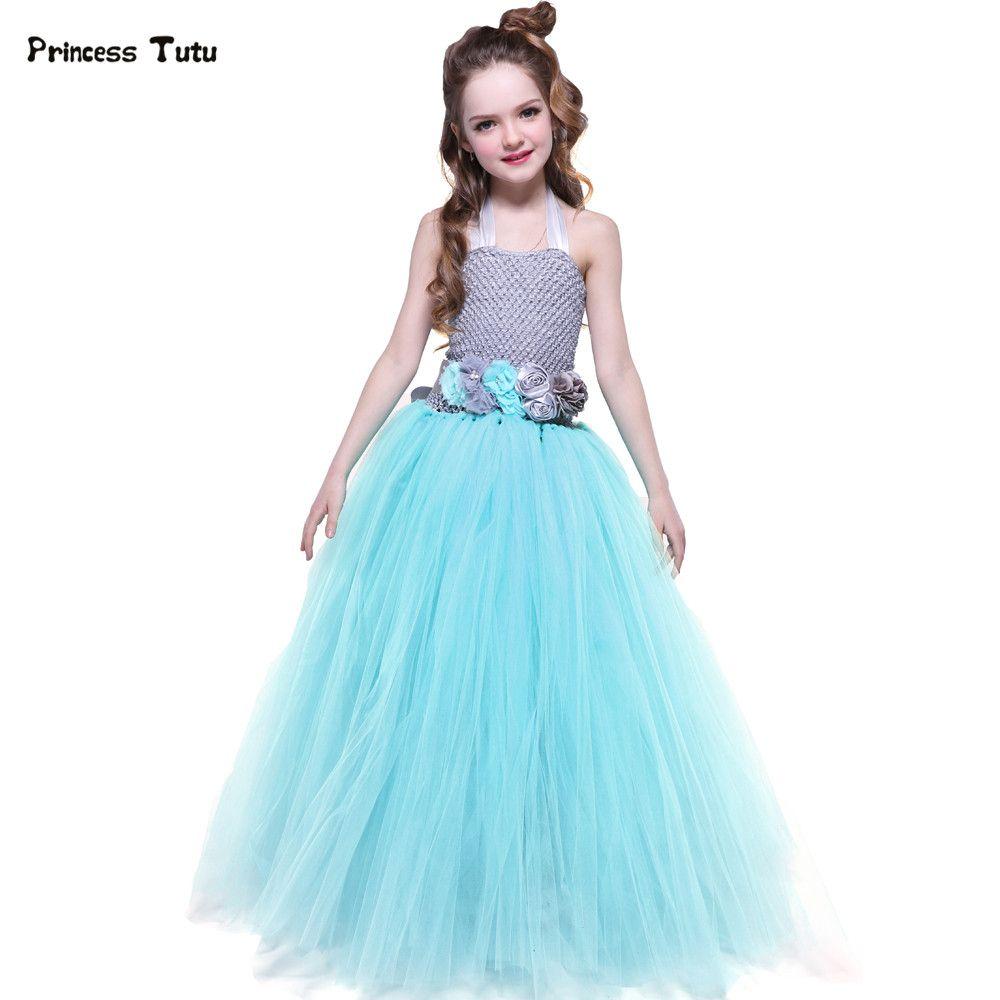 Turquoise Birthday Party Tutu Dress Kids Girls Princess Tulle Flower ...