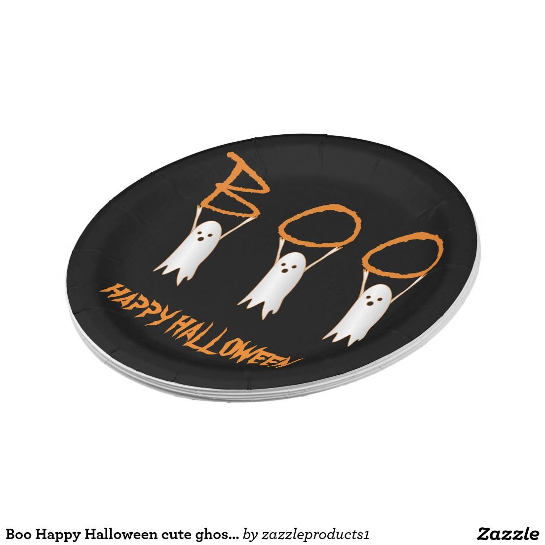 Boo Happy Halloween cute ghosts modern Paper Plate  sc 1 st  Pinterest & Boo Happy Halloween cute ghosts modern Paper Plate | Happy halloween ...