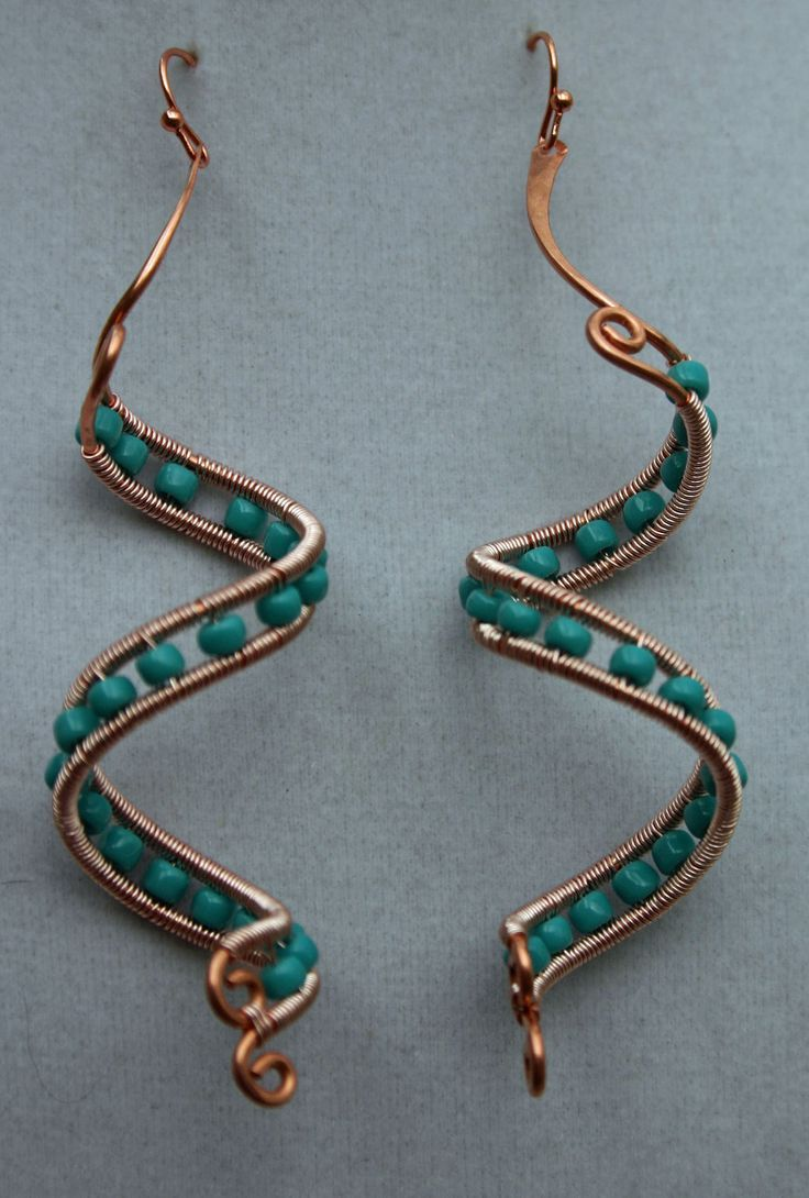 Copper spiral wire wrapped beaded dangle earrings by