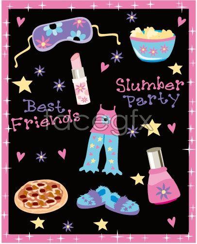 Cute Elements Vector Free Vectors Pinterest Soiree Pyjama