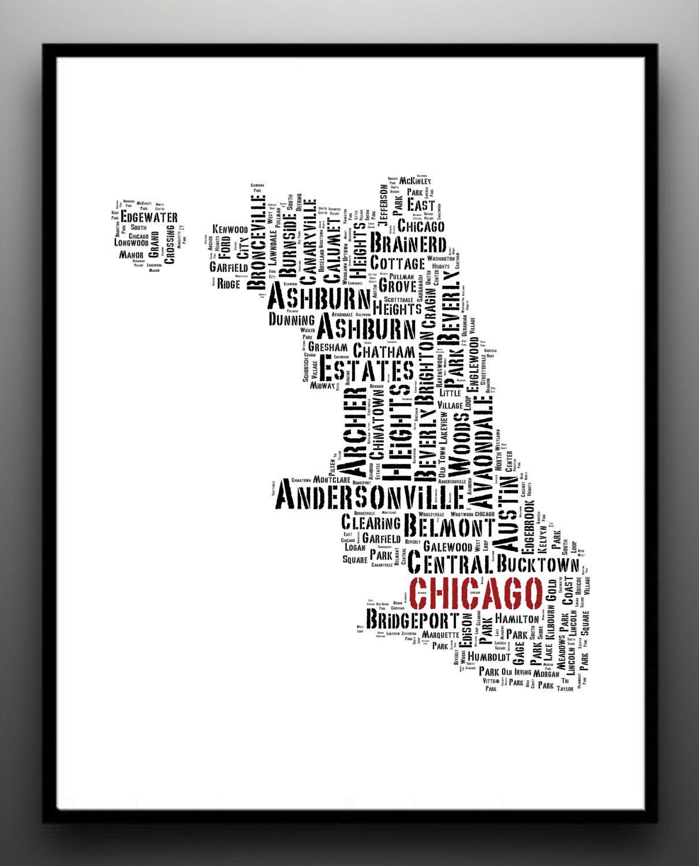 Chicago City Map Typography Print Chicago Neighborhoods NEW - Kenwood chicago map