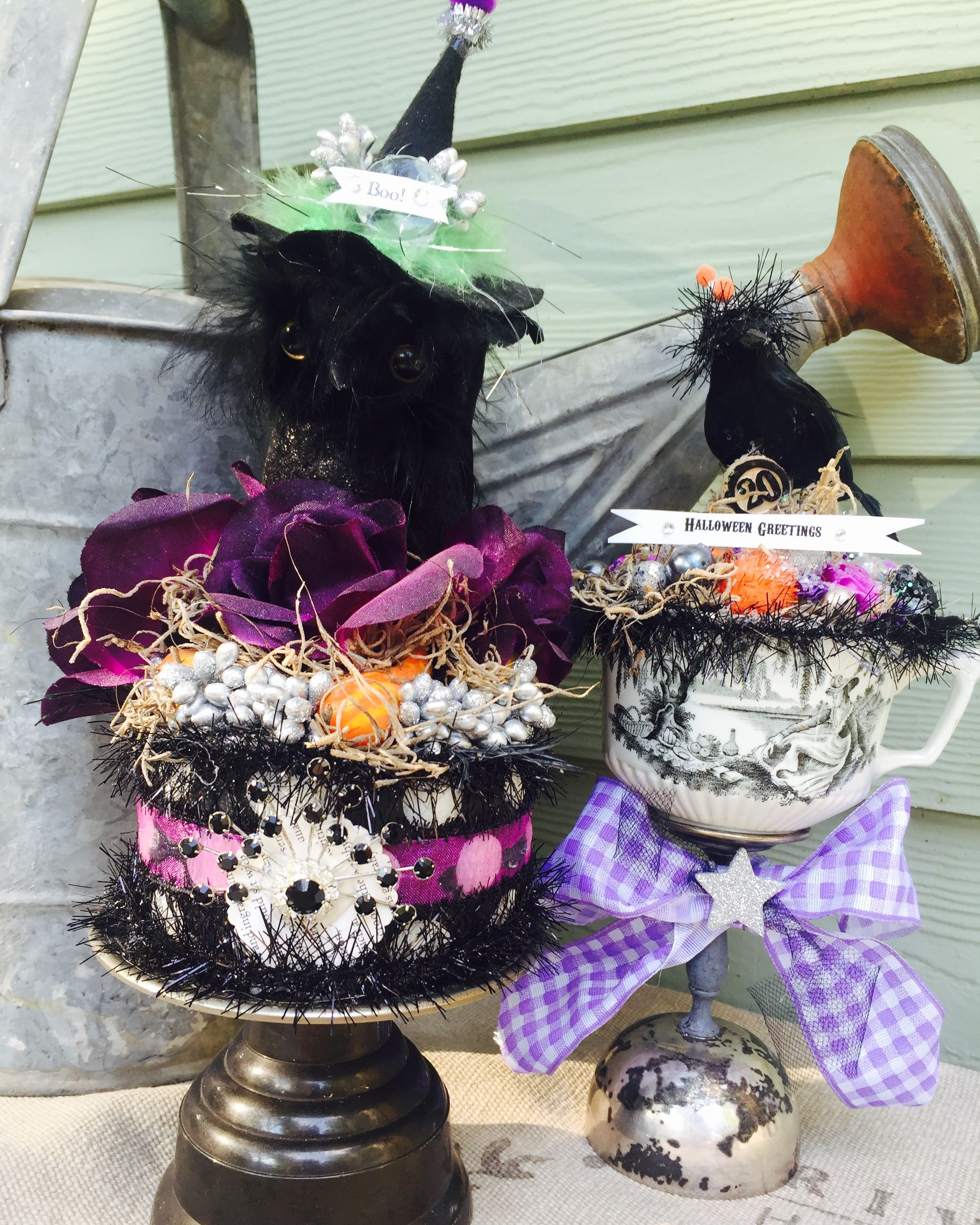 Vintage Inspired Spooky Halloween Decor; Altered Art Centerpiece - scary halloween decor