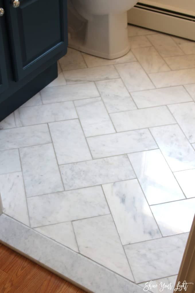 Large Herringbone Marble Tile Floor - How To DIY It For Less - Shine DIY & Design