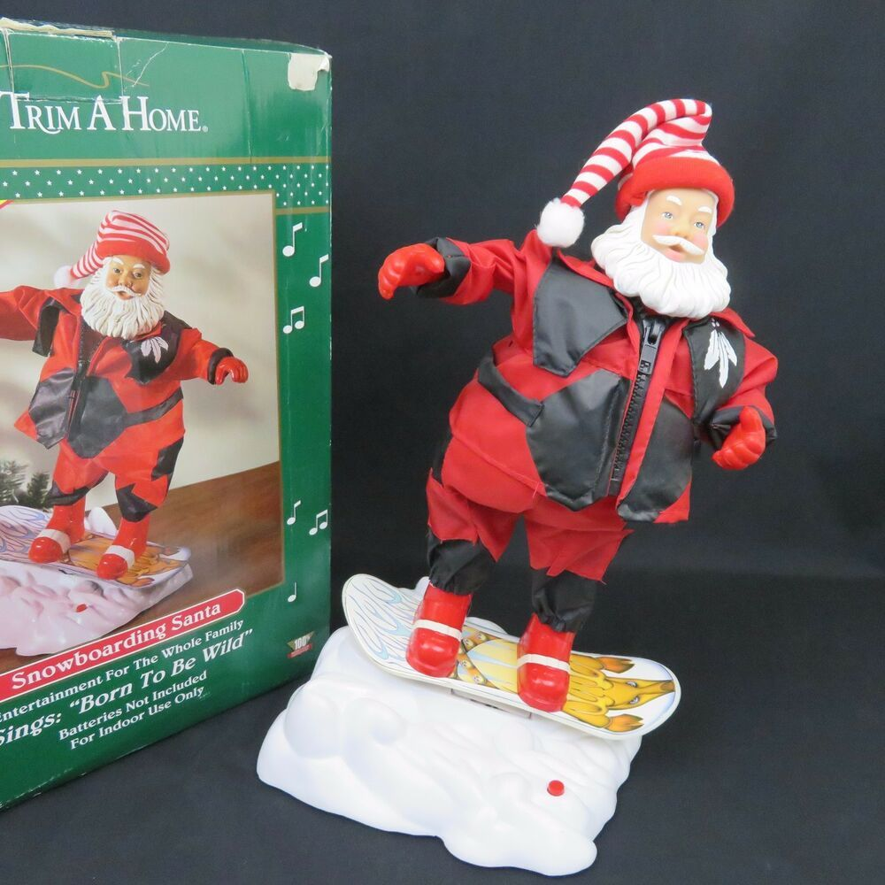 Animated Snowboarding Santa Music Born to Be Wild Singing Dancing 15in See Video #TrimAHome ...