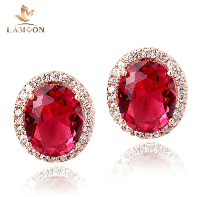 Luxury Red Crystal Earrings Rose Gold Plated Fashion Jewelry Made