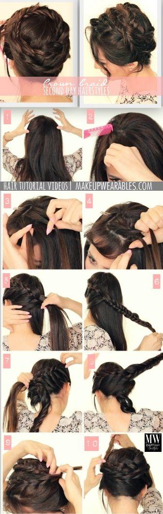 Cute second day #hairstyles | Crown braid tutorial video | Beautiful ...