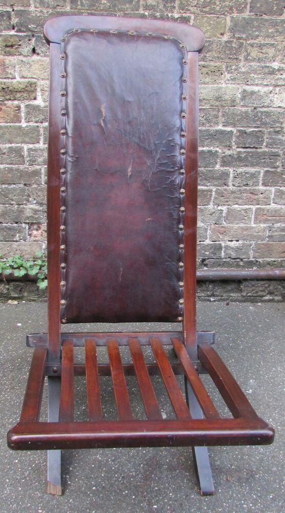 Circa Edwardian Period Wood & Leather Folding Steamer Boat Chair / Deck Chair #edwardianperiod