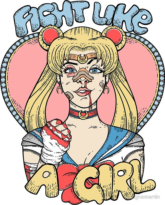 Sailor moon fight like a girl sticker by seignemartin
