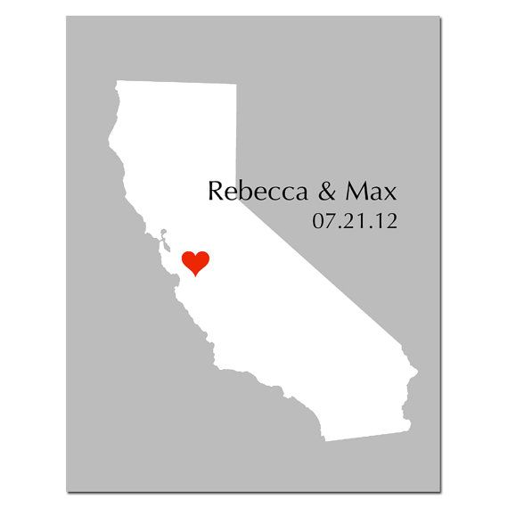 Custom Wedding Poster Personalized Love State Map 11x14 by Tessyla, $28.00