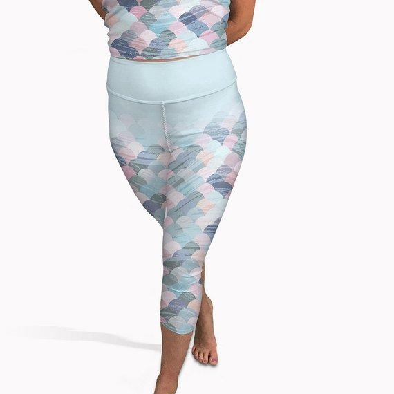 3423e4032f Mermaid Capri Yoga Leggings, Summer Gym Pants, Pastel Capri Leggings, Pale Capri  Leggings, Pale Yoga
